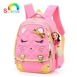 2018 Girl Adorable School Bags Sweet Cat Smile Face Children Backpack  Orthopedic Princess Schoolbags Primary ary Bookbag 6c4ad75940b9b