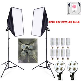 Wholesale Photo Socket - Photo Softbox kit 8pcs 24W E27 LED+ 2pcs Light socket Holder + 2pcs Tripod + softbox video lighting switch Photo Studio kit