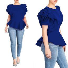 blusa de moda azul Desconto 2018 Nova Moda Big Ruffles Mulheres de Manga Curta Tops Sólidos Senhora Do Escritório Blusas Camisas Vermelho Branco Azul Preto