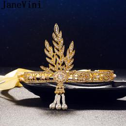 Gatsby crown on-line-JaneVini Grande Cabeça Gatsby Jóias Headpieces Ouro / Prata Cabelo Cristal Rhinestone Nupcial Coroas E Tiaras Mulheres Festa de Casamento Hairband