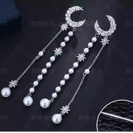 Wholesale Online Celebrities - Earrings in silver fashion South Korea, a long - style tassel pendant with star - moon earrings online celebrity.