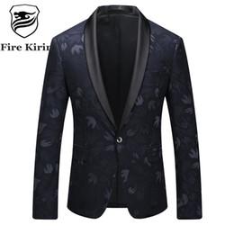 Wholesale Vintage Slim Fit Blazers Men - Fire Kirin Men Blazer 2017 Slim Fit Casual Floral Blazers For Men 4XL 5XL Plus Size Vintage Suit Jacket Mens Stage Wear Q27