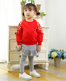 Wholesale Embroidered Shirts Girls - 2018 Spring Girls T-shirts cotton Embroidered flowers long sleeve t-shirts Children Clothing 1-3y K649