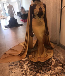 Wholesale Navy Blue Beaded Shawl - Gold Mermaid Long Prom Dresses With Shawl 2018 New Lace Applique Beaded High Neck Floor Length Formal Evening Gowns Party Dress Custom Made