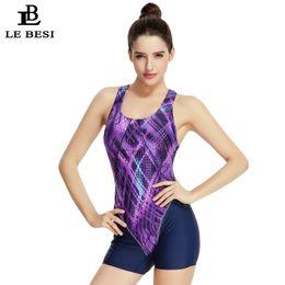 Wholesale Competitive Swimsuit - LEBESI 2017 Short Pants Professional One Piece Swimsuit Swimming Sportswear Women Swimwear Competitive Bodysuit Print Monokini
