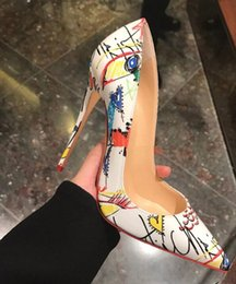 Wholesale Graffiti Colorful - 2018 New arrival Woman Sexy Red Bottom High Heels Spring Wedding Party Women Shoes Stiletto White Graffiti Colorful Women Pumps