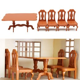 Wholesale Furniture Dining Tables - Wholesale-DIY Miniatura Furniture Dining Tables Chairs Sets For Mini Doll House Miniatures Furniture Toys Gifts For Children Adult