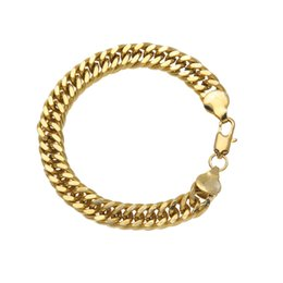 Wholesale 14k Cuban Link Bracelet - 2018 Unisex Classic 10mm Hip-hop Gold Color Cuban Link Hand Chain Man Wristband Bangle Bracelet Rock Jewelry High Quality Jewelry D768S