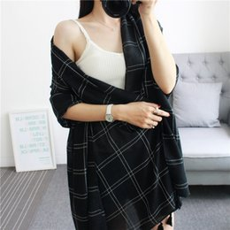 Wholesale Wholesale Linen Summer Scarves - 2017 New Summer Plaid solid color Scarf Cotton and linen Thin And Long Soft Tassel Sunscreen Beach Shawl Wraps For Women Scarves
