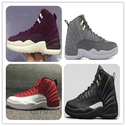 Wholesale Womens Boots 12 - 12 DARK GREY Bordeaux The MASTER Taxi Basketball Shoes 12s wings Mens Sports Shoes Sneakers Athletics Boots Womens Trainers Free shippment