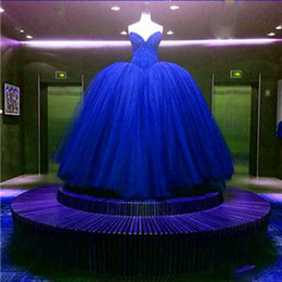 Wholesale gold sequin tutu dress - Luxury Real Image Senior Ball Gown Quinceanera Dress Royal Blue Red Dream Ball Gowns Bridal Tutu Bridal Party Dress Gowns