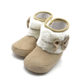 Wholesale winter woolen shoes - 2017 Toddler Kids Winter Woolen Snow Boots Bowknot Infant Soft Sole Baby Shoes Hot Sale