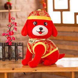 Wholesale Chinese New Year Toys - 2018 Dog Year Mascot Plush Toys for Children 25cm 50cm Stuffed Dolls Tang Suit Zodiac Doll Plush Toys Chinese New Year Gift VE0478