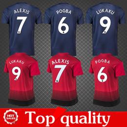 Wholesale man united top - Top quality 2019 man LUKAKU POGBA ALEXIS soccer jersey Home red utd 18 19 united MATA MARTIAL MATIC RASHFORD Football Shirt