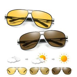 Lunettes de nuit pilotes en Ligne-Lunettes de soleil photochromiques hommes pilote lunettes de soleil polarisées Lunettes de vision nocturne de l'aviation rétro pour lunettes caméléon hommes