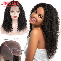 Discount full lace wigs kinky curly - 9A Jingleshair Brazilian lace front wigs Per Plucked afro Kinky Curly Brazilian Remy Human Hair13*4 lace wigs for black women free shipping
