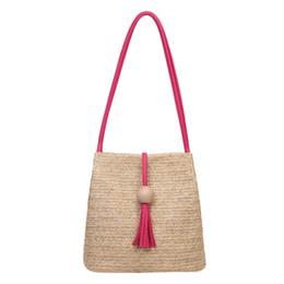 Wholesale high strung beads - Women Fashion High Capacity Weave Wooden Beads Tassels Shoulder Bucket Bag Fashion Lady Shoulder Bags Large Capacity Handbags