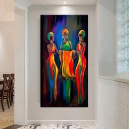 Óleo lona pinturas mulheres on-line-Grande Lienzos Cuadros Decorativos Peinture Pintura de Parede Pintados À Mão-Abstrata Figura Pinturas A Óleo sobre Tela África Mulheres Arte