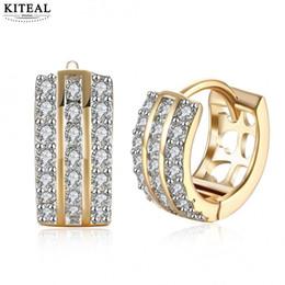 6d3871dd6db5 Joyería de moda Huggie Earing para mujer color dorado Zirconia cúbica  pequeño aro pendientes pendiente de la boda Brinco Bijoux MLE151 pequeños  aretes de ...