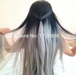 """Wholesale Gradient Hair Extensions - 24"""" Long Straight 5 Clips Heat Resistant Synthetic Clip in Hair Extensions Black To Gray Gradient Ombre Hairpiece Accessories"""