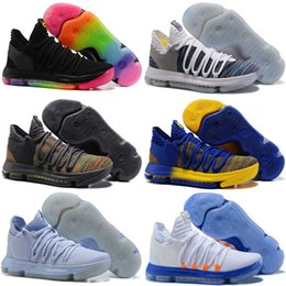 Wholesale Kd Size 12 Men - 2018 New KD 10 X Oreo Bird of Para Shoes for Chrome Still KD Mid Cut Sports SHOES Size 7-12
