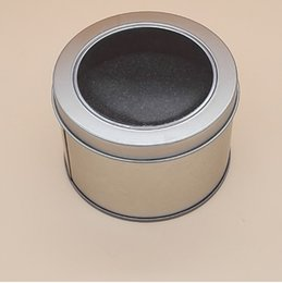 Wholesale Window Jewelry - Round Tin Box With Transparent PVC Window Lid & Sponge Plain Silver Metal Can Storage Case For Watch Small Things wen5507