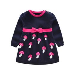 2018 Outono Inverno Meninas camisola vestido Bow Dot Crianças Bebê Camisola Crianças Roupas De Malha Plissada saia tarja Jumper Pullover de