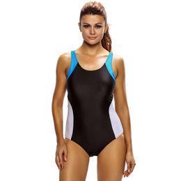 Racerback traje de baño mujer online-Traje de baño para mujer Tamaños grandes Ropa de playa Bloque de color Traje de baño Racerback de una pieza Banadores Tallas Grandes