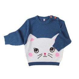 2019 modello di gatto a maglia 6M-24M Baby Cartoon Cat Pattern Inverno a maglia Abbigliamento Ragazzi / Ragazze O-Collo Pullover Maglioni Neonati Carino Maglione modello di gatto a maglia economici