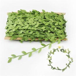 Wholesale leaf garland wholesale - 40M Lot Artificial Green Leaf Garland Cloth Quality Decorate Accessories For Party Simulation Rattan Decorative Wreath Fake Flower 9 9ms WW