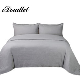 Argentina iDouillet Stone Washed Cotton Bedding Juego de funda nórdica de color liso con fundas de almohada Twin Queen King Size Gris Blanco Negro Rojo cheap red grey pillows Suministro