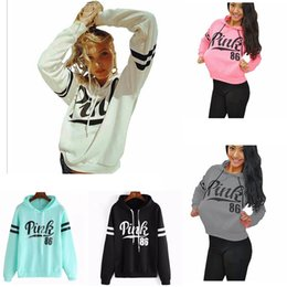 Wholesale warm grey hoodie - Pink Letter Long Sleeve Hoodie With Hat Girls Sport Sweater Winter Warm-up Top Clothes Women Hoodie Sweatshirts AAA280