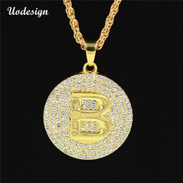 Wholesale Big Crystal Rock - Uodesign High Quality Gold-color Round card big B pendants Necklace Fashion Hip hop rock accessories Chain men jewelry