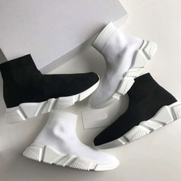 Wholesale gray leather boots women - 2018 luxury brand men and women casual shoes flat socks boots red gray three colors black and white elastic mesh high-top sports shoes speed