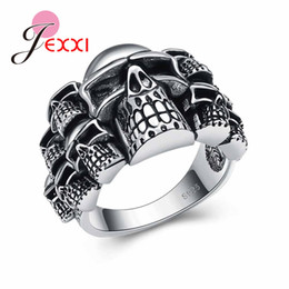Wholesale Sterling Silver Skull Rings - whole saleJEXXI Vintage Skull Ring Party King Men Ring Rock Punk Horrible Ghost 925 Sterling Silver Halloween Decorations SIZE 6-10