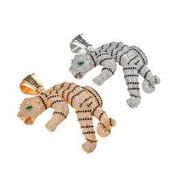 Gold tiger anhänger online-Hip Hop 3D Tiger Anhänger Halskette Iced Out Cubic Zirkon Gold Silber Achat Auge Weihnachtsgeschenk