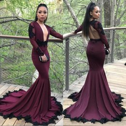 Wholesale Embroidery Dresses For Evening - New Sexy Burgundy Mermaid Long Sleeves Prom Dresses 2018 Backless Lace Sequins Evening Gowns 2K18 For Black Girl Arabic Party Gowns BA7833