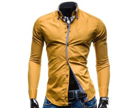 Черная рубашка с длинным рукавом онлайн-Men Shirt  2018 Male Long Sleeve Buttons Shirt Casual Solid Color Slim Fit Black Dress Shirts Camisa Masculina