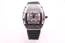 2019 relógio de aço crânio BOYUHENG 052 alta qualidade preto / prata crânio dial preto de borracha do homem preto / vermelho / branco Círculo caixa de aço de prata de quartzo relógio de diamantes desconto relógio de aço crânio