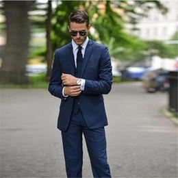 993435505f Dark Blue Wedding Suits For Men Trajes De Hombre Tuxedo Suit Men Blazer  3Pieces(Jacket+Pants+Vest+Tie) Italian Style
