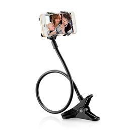 Morsetto a braccio flessibile online-Supporto del telefono 360 rotante flessibile braccio lungo supporto del telefono cellulare morsetto letto pigro auto auto selfie staffa di montaggio nero per il telefono