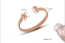 Wholesale stainless cuffs female - famob rand stainless steel rose gold plated cuff bangle bracelet female male bijoux open love bracelet gift for men couple