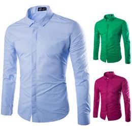 Colori camicie formali da uomo online-Nuovo arrivo 8 colori camicia da uomo manica lunga cotone di grandi dimensioni camicie da lavoro casual uomini camicia abito formale abiti da uomo