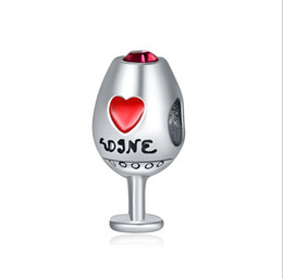 39bfaff3ad4 wine glasses heart Promo Codes - Fits Pandora Bracelets 30pcs Red Wine Glass  Silver Charms Bead