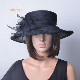 Abiti i cappelli per la chiesa online-NUOVO ARRIVO cappello in organza di pizzo nero cappelli abiti da cerimonia cappello formale per matrimonio, chiesa, festa, gare di ascot, coppa di melbourne, derby kentucky.