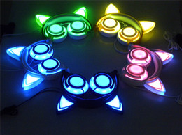 Wholesale Cat Ear Phones - New rechargeable Cat Ear headphones Fully LED Lighting Kitty cats earphone Flashing bear Cosplay Headset Gaming Earphones for Adult and kids