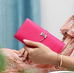 Pietre frizione online-Portafoglio donna portafogli in pelle di alta qualità con cerniera lunga in pelle per donna