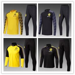 Wholesale Man Set Clothes - best Dortmundes 17-18-19 tracksuit Jacket Set Men Kit long sleeve Training suit pants football Borussia Aubameyang Reus clothes sports wear