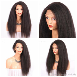 Wholesale kinky straight synthetic lace wigs - Hot Sexy Black Brown Full Lace Kinky Straight Natural Wigs with Baby Hair Heat Resistant Glueless Synthetic Lace Front Wigs for Black Women