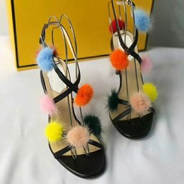 Wholesale transparent rubber shoes - Women's shoes sexy hair ball transparent fish mouth shoes apricot sandals fine with sexy black high heels dress shoes